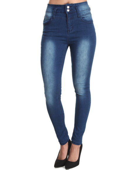 Almost Famous - Women Dark Wash High Waist Distructed Skinny Jean - $22.99
