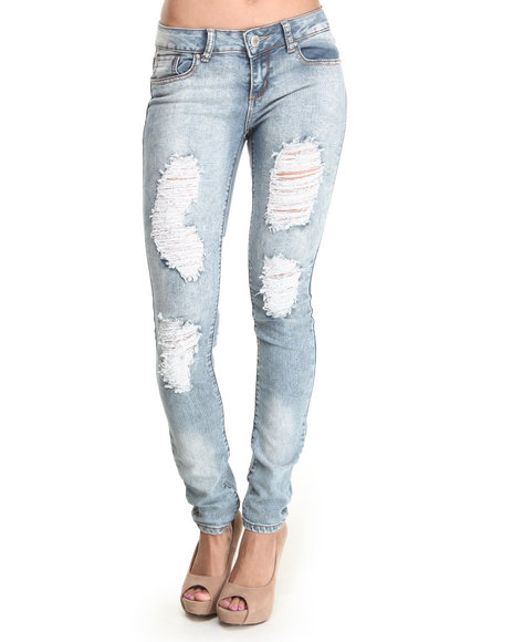 Almost Famous - Women Light Wash Distructed High Rise Acid Wash Skinny Jean