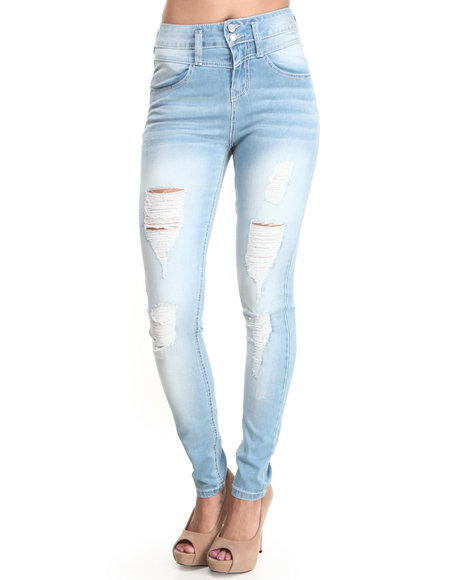 Almost Famous - Women Light Wash High Waist Distructed Skinny Jean