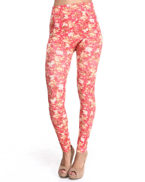 Fashion Lab - Women Orange Cabbage Rose Print Legging
