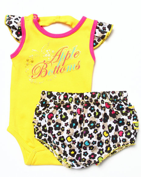 Apple Bottoms - Girls Yellow 2 Pc Set - Bodysuit & Animal Print Bloomers (Newborn)