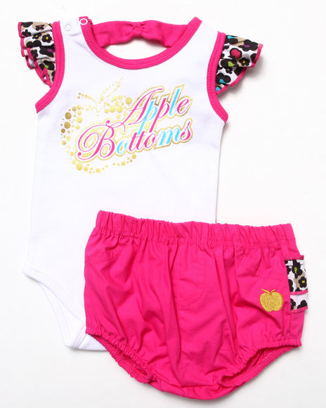 Apple Bottoms - Girls Pink 2 Pc Set - Bodysuit & Ruffle Bloomers (Newborn)