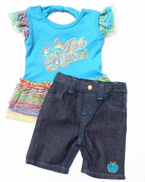 Apple Bottoms - Girls Teal 2 Pc Set - Ruffle Tee & Jeans (Infant)