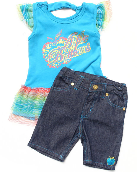 Apple Bottoms - Girls Teal 2 Pc Set - Ruffle Tee & Jeans (2T-4T)