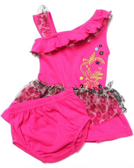Apple Bottoms Girls Pink Ruffle Asymmetrical Dress (Newborn)