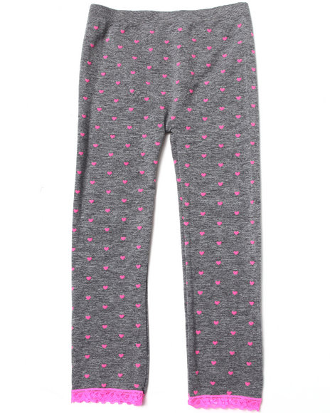 La Galleria Girls Neon Hearts Seamless Leggings (7-16) Light Grey