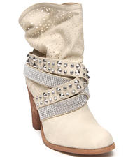 Women - Perforated Bling Studded Bootie