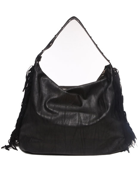 Rampage Women Slouchy Fringed Sides Hobo Black - $25.99