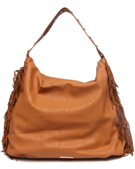 Rampage Women Slouchy Fringed Sides Hobo Brown - $21.99