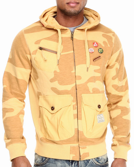 AKOO Tan,Yellow Breech Desert Camo Zip Hoodie