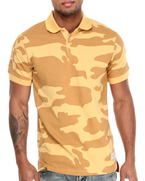AKOO Tan,Yellow Mercenary Pique Polo