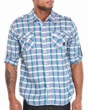 Shirts - Seaside Roll-Up Short-Sleeve Plaid Woven Shirt