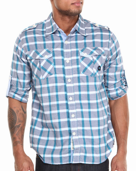 - Seaside Roll-Up Short-Sleeve Plaid Woven Shirt