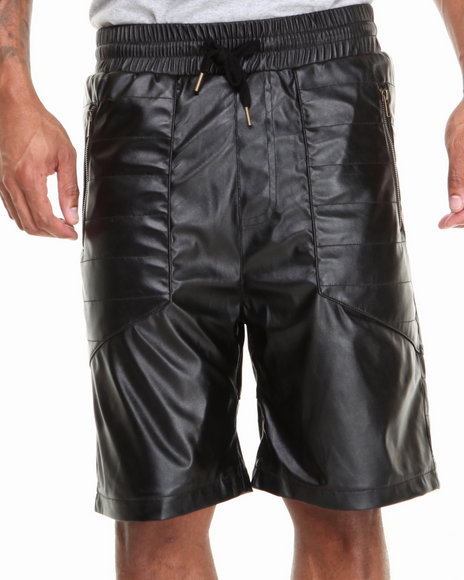 Basic Essentials - Men Black Vegan Leather Premium Shorts