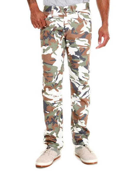 Basic Essentials - Men Camo,White Skinny Stretch Camo Denim Jeans
