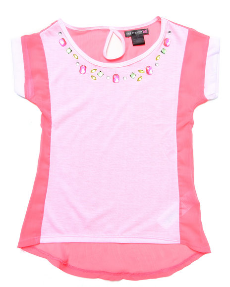 La Galleria Girls Coral Jersey & Chiffon Top W/ Jewel Trim (7-16)