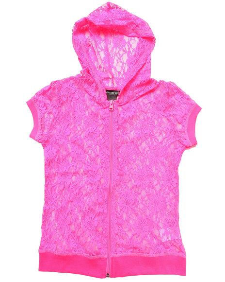La Galleria Girls Pink S/S Lace Hoodie (7-16)