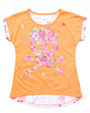 Sizes 7-16 - Big Kids - FLORAL PRINT TOP W/ LACE INSERT (7-16)