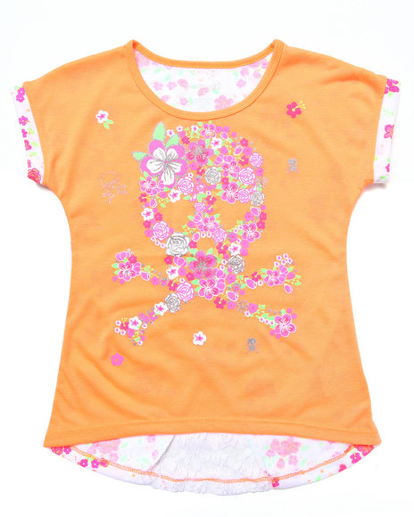 La Galleria - Girls Orange Floral Print Top W/ Lace Insert (7-16)