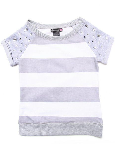 La Galleria Girls Light Grey Stripe Top W/ Jeweled Sleeves (7-16)