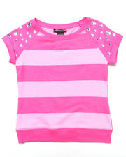 Sizes 7-16 - Big Kids - STRIPE TOP W/ JEWELED SLEEVES (7-16)