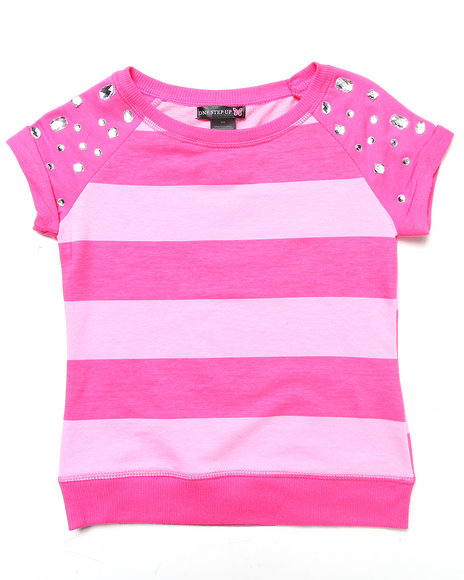 La Galleria - Girls Pink Stripe Top W/ Jeweled Sleeves (7-16)