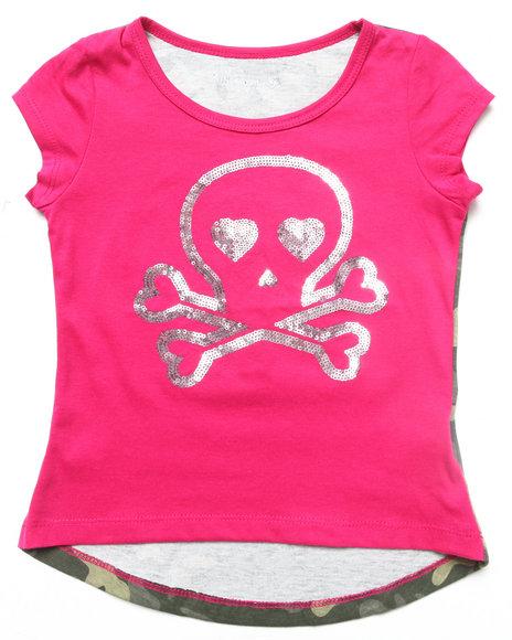 La Galleria Girls Camo,Pink Camo Skull Tee (4-6X)
