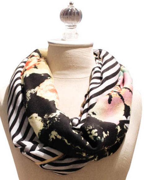 Kensie Chevron Floral Scarf Black