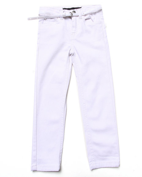 La Galleria - Girls White Belted Skinny Twill Pants (4-6X)