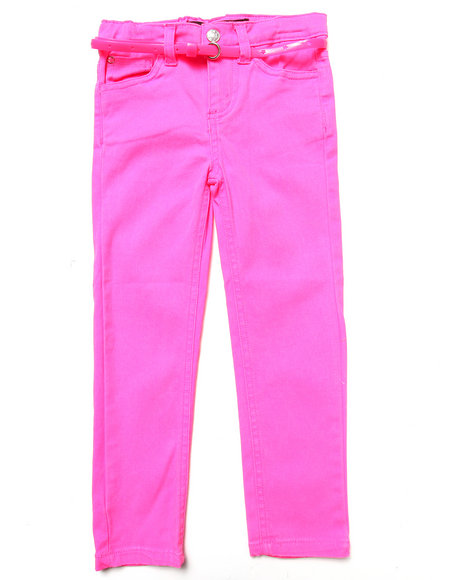 La Galleria Girls Pink Belted Skinny Twill Pants (4-6X)