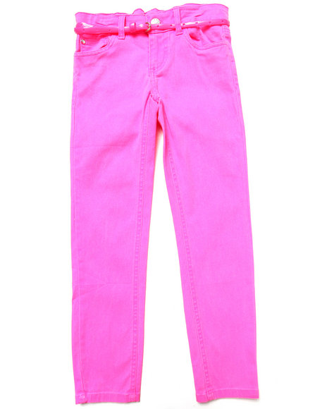 La Galleria - Girls Pink Belted Neon Skinny Twill Pants (7-16)