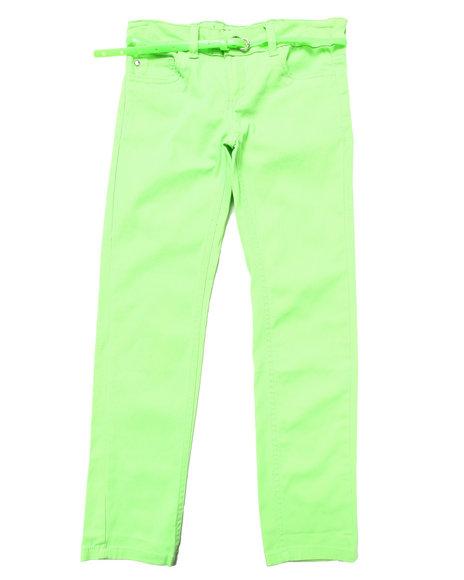 La Galleria Girls Green Belted Neon Skinny Twill Pants (7-16)
