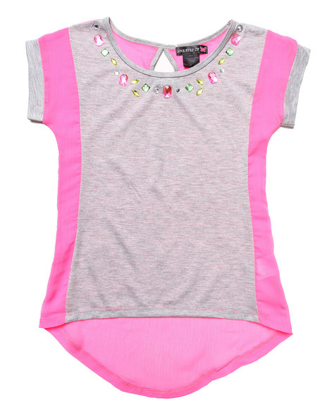 La Galleria Girls Grey,Pink Jersey & Chiffon Top W/ Jewel Trim (7-16)