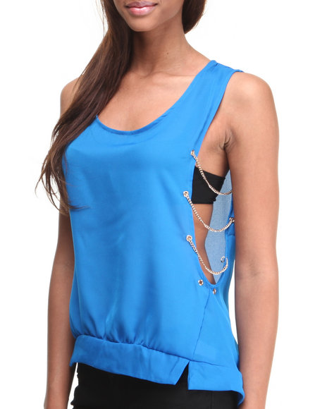 ALI & KRIS Blue Chain Sides Sleeveless Top