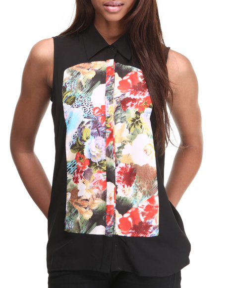 ALI & KRIS Black Floral Screen Print Sleeveless Top