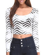 Women - Chevron Print L/S Cropped Top