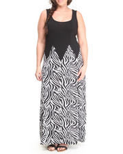 Women - Zebra Print S/L Maxi Dress (Plus)