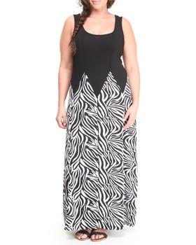 Paperdoll - Zebra Print S/L Maxi Dress (Plus)