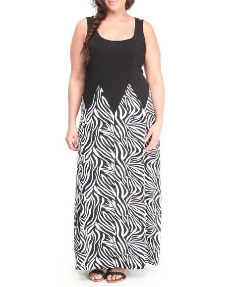 Paperdoll - Women Black,White Zebra Print S/L Maxi Dress (Plus)