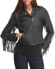 Women - Hippy Love Fringe Vegan Leather Jacket