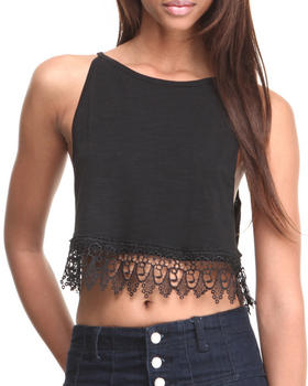 Fashion Lab - Cropped Cami w/ Over-sized Armhole & Lace Trim
