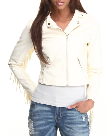 Basic Essentials - Women Ivory Hippy Love Fringe Vegan Leather Jacket