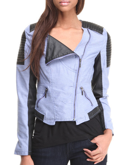 Basic Essentials - Women Blue Aliyah Moto Jacket W/ Chambray Vegan Leather Mix