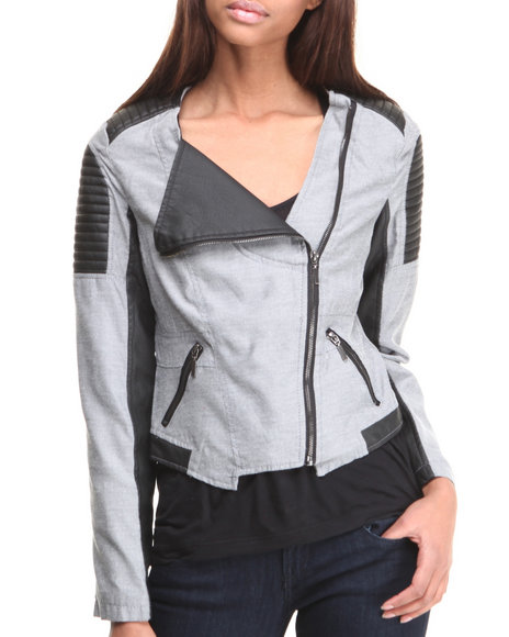 Basic Essentials - Women Grey Aliyah Moto Jacket W/ Chambray Vegan Leather Mix