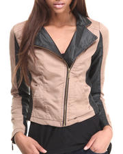 Women - Othelia Lightweight Mixed Media Vegan Leather Moto Jacket