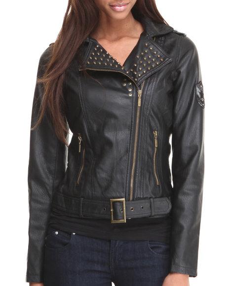 Basic Essentials - Women Black A Few Good Men Moto Jacket