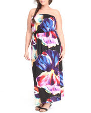 Women - Watercolor Print Tube Maxi Dress (Plus)