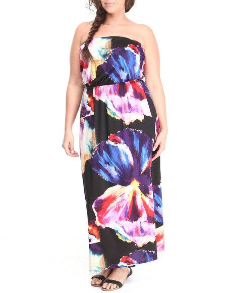 Paperdoll Black,Multi Watercolor Print Tube Maxi Dress (Plus Size)