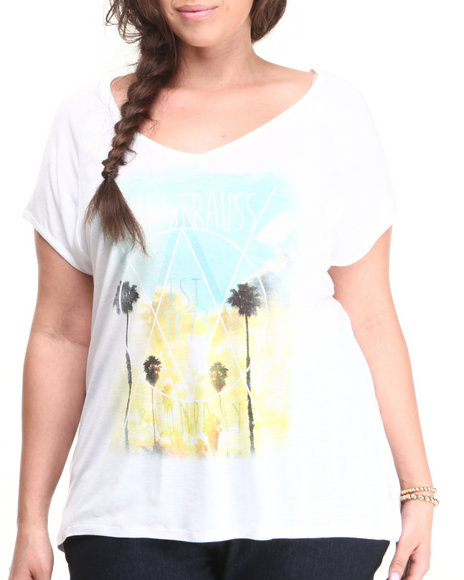 Levi's White Geo Sunset Slub Hi-Lo Fashion Tee W/Print (Plus Size)