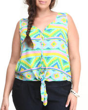 Women - Aztec Print Tie Front Top (Plus)